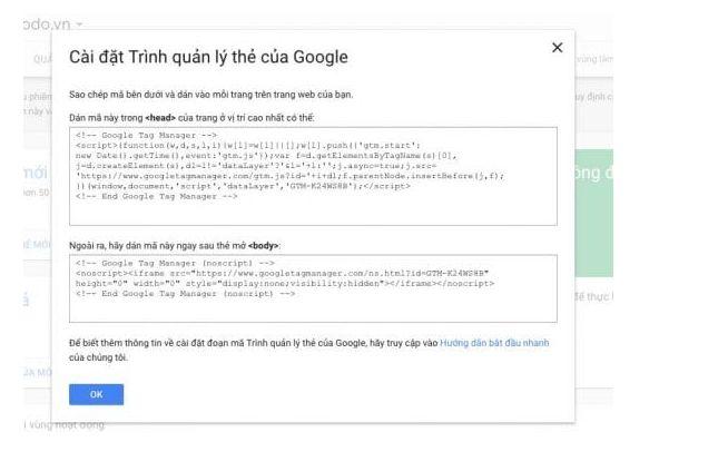 Dán đoạn mã GTM vào website