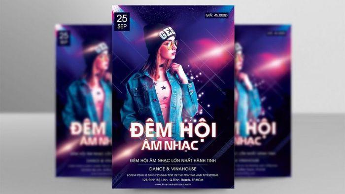 hiệu ứng 3D trên poster âm nhạc