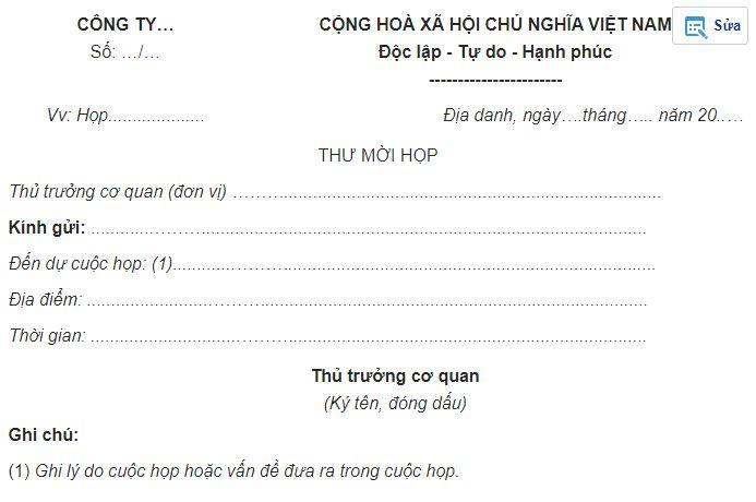mẫu giấy mời họp form 1