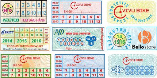 tem bảo hành hình chữ nhật